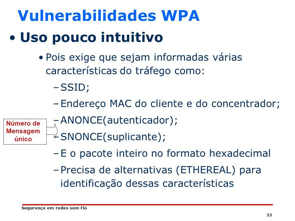 Vulnerabilidades WPA Uso pouco intuitivo