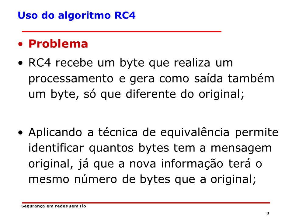 Uso do algoritmo RC4 Problema. RC4 recebe um byte que realiza um processamento e gera como saída também um byte, só que diferente do original;