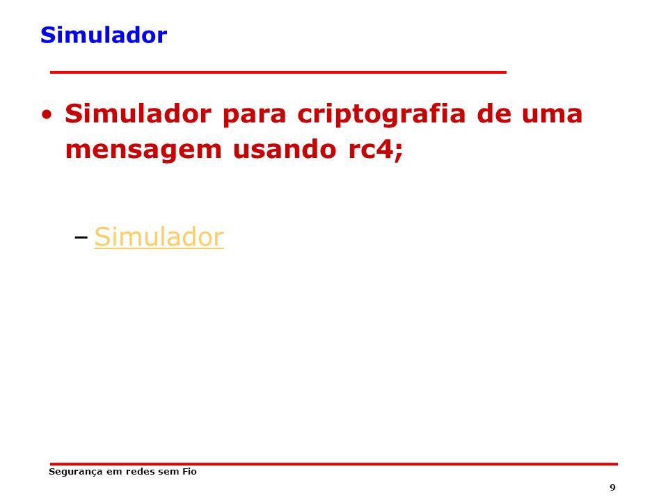 Simulador para criptografia de uma mensagem usando rc4;