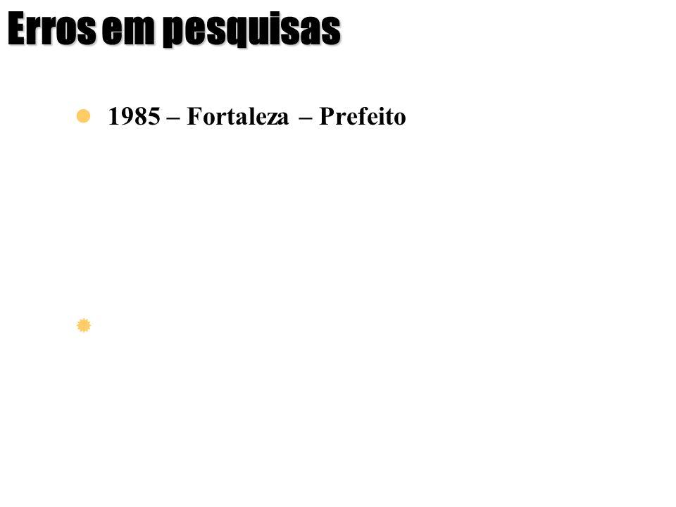 Erros em pesquisas 1985 – Fortaleza – Prefeito