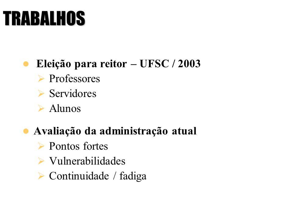 TRABALHOS Eleição para reitor – UFSC / 2003 Professores Servidores