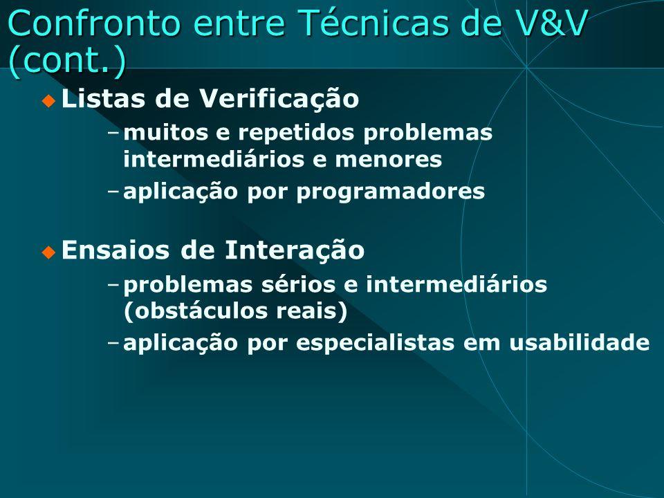 Confronto entre Técnicas de V&V (cont.)