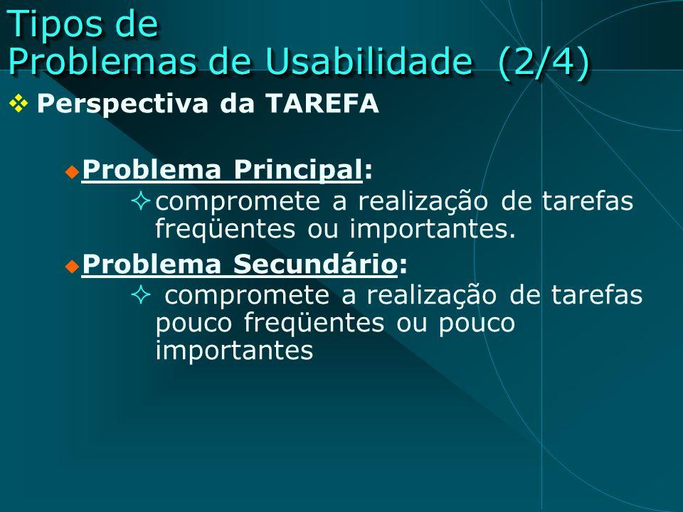 Tipos de Problemas de Usabilidade (2/4)