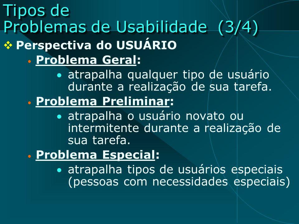 Tipos de Problemas de Usabilidade (3/4)