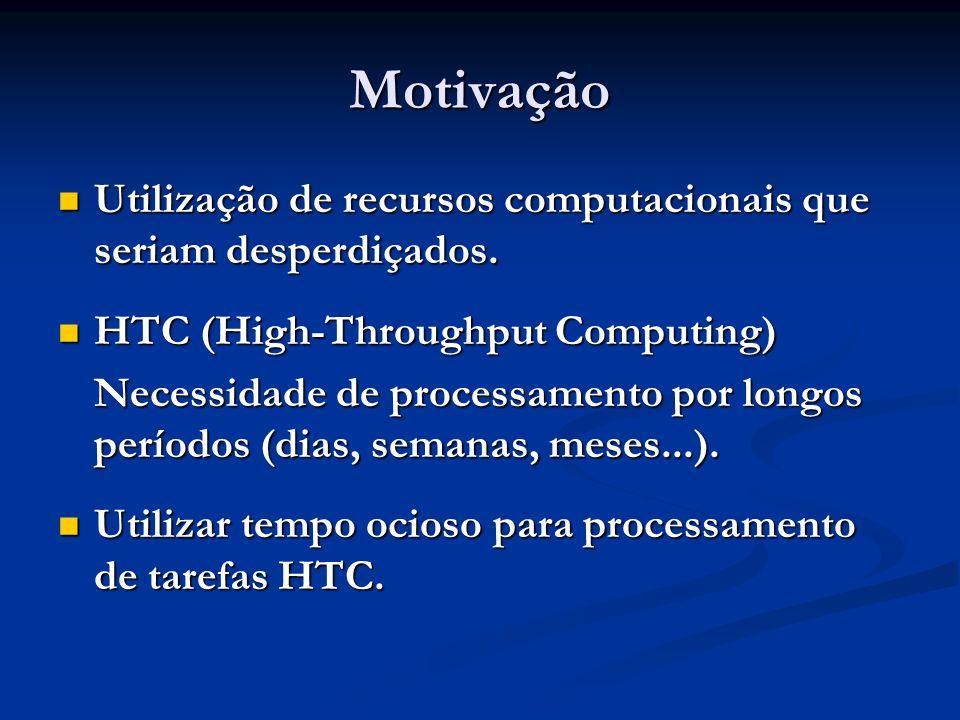 Motivação Utilização de recursos computacionais que seriam desperdiçados. HTC (High-Throughput Computing)