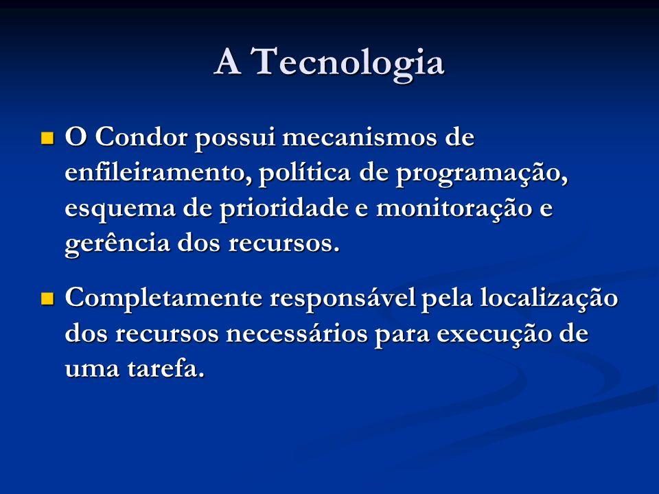 A Tecnologia O Condor possui mecanismos de enfileiramento, política de programação, esquema de prioridade e monitoração e gerência dos recursos.