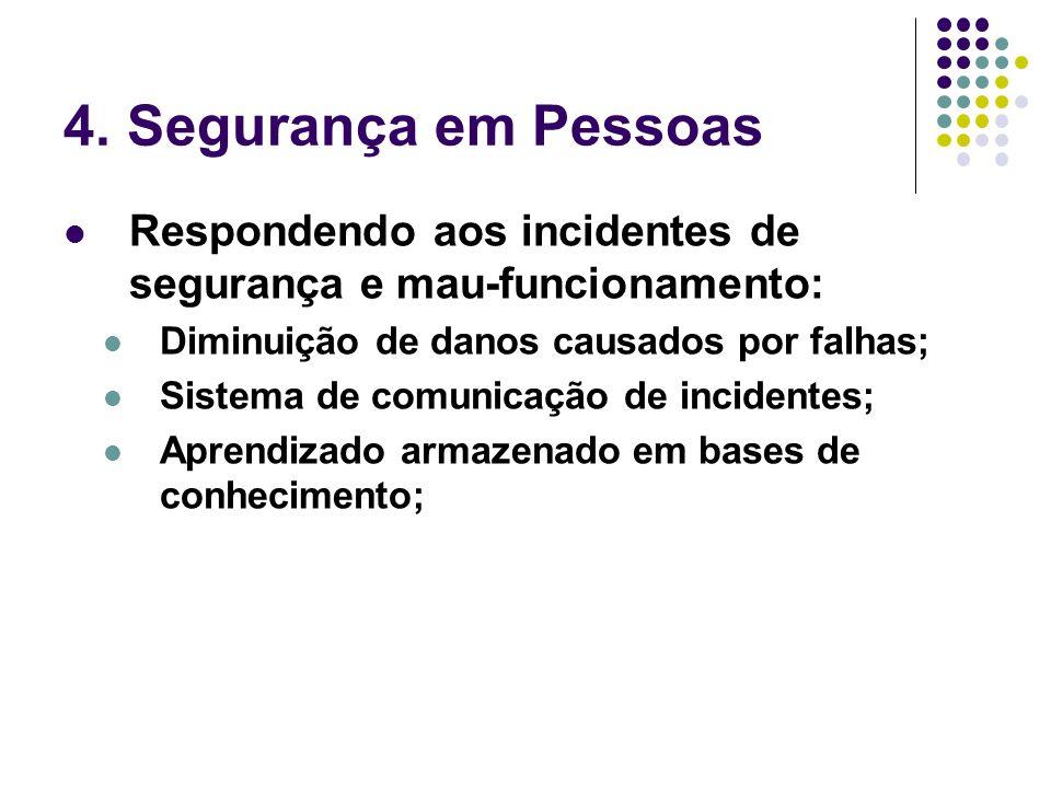 4. Segurança em Pessoas Respondendo aos incidentes de segurança e mau-funcionamento: Diminuição de danos causados por falhas;