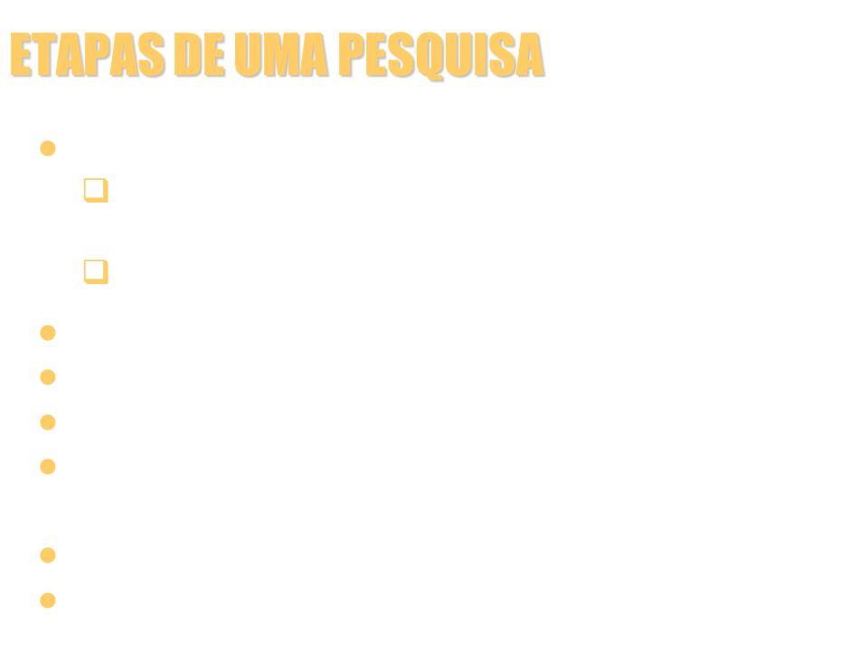 ETAPAS DE UMA PESQUISA Montagem do pré-relatório