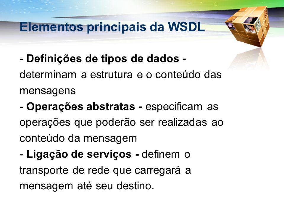 Elementos principais da WSDL
