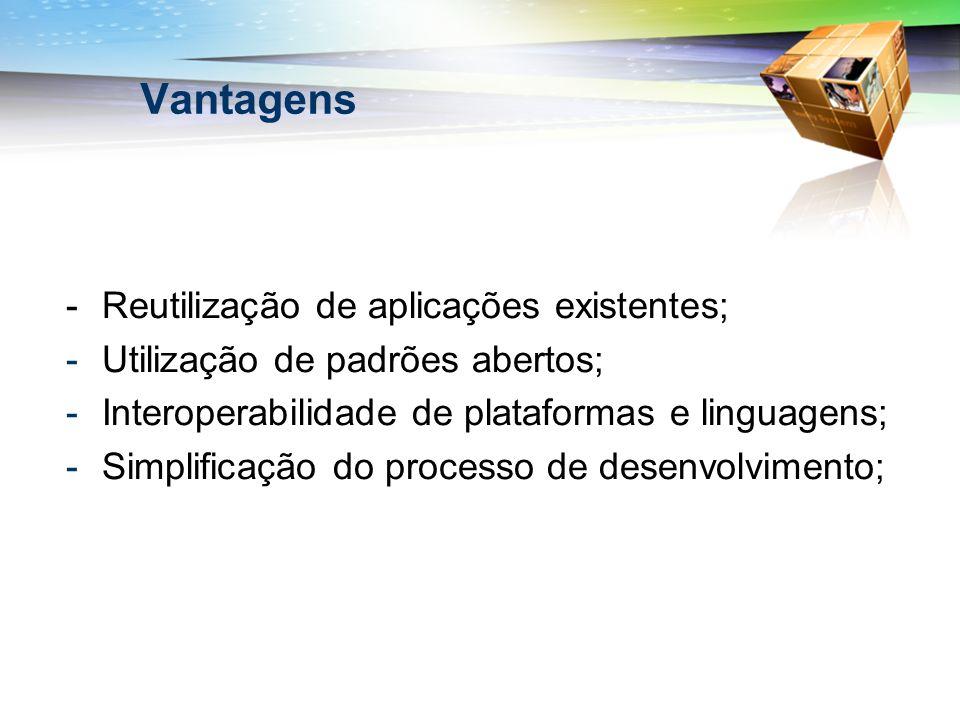 Vantagens - Reutilização de aplicações existentes;