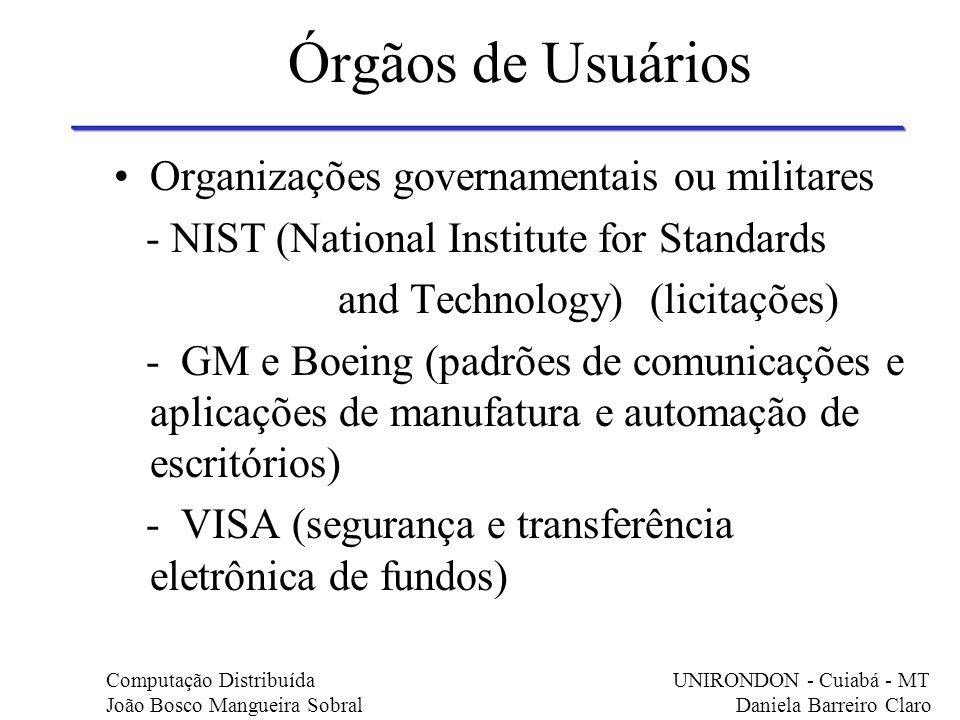 Órgãos de Usuários Organizações governamentais ou militares
