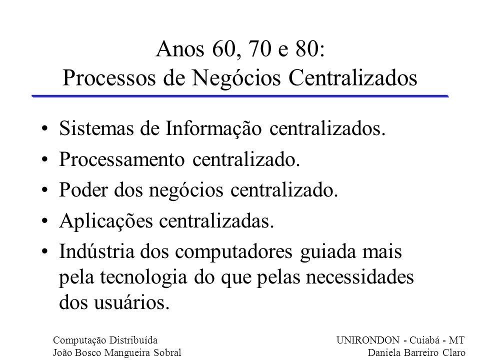 Anos 60, 70 e 80: Processos de Negócios Centralizados