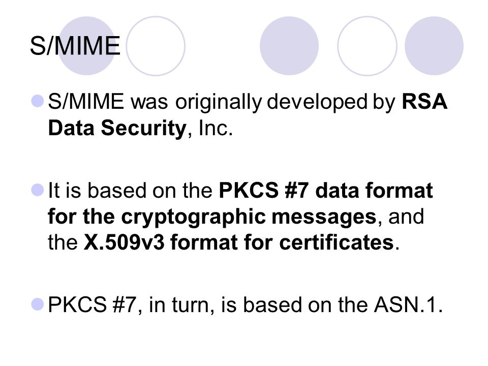 S/MIME S/MIME was originally developed by RSA Data Security, Inc.
