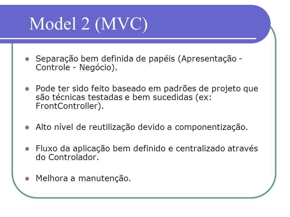 Model 2 (MVC) Separação bem definida de papéis (Apresentação - Controle - Negócio).