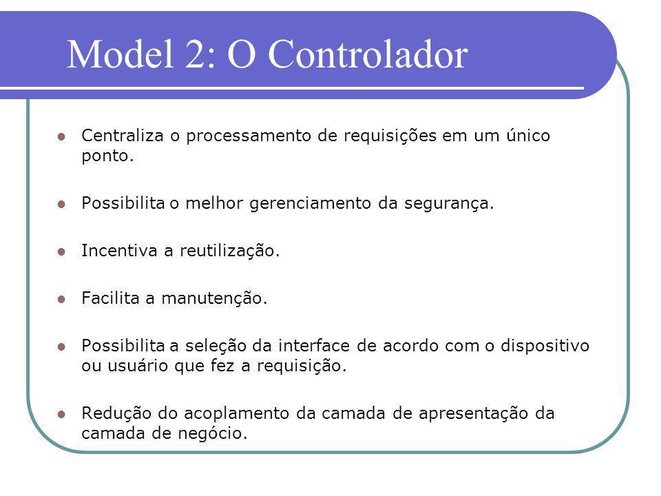 Model 2: O Controlador Centraliza o processamento de requisições em um único ponto. Possibilita o melhor gerenciamento da segurança.