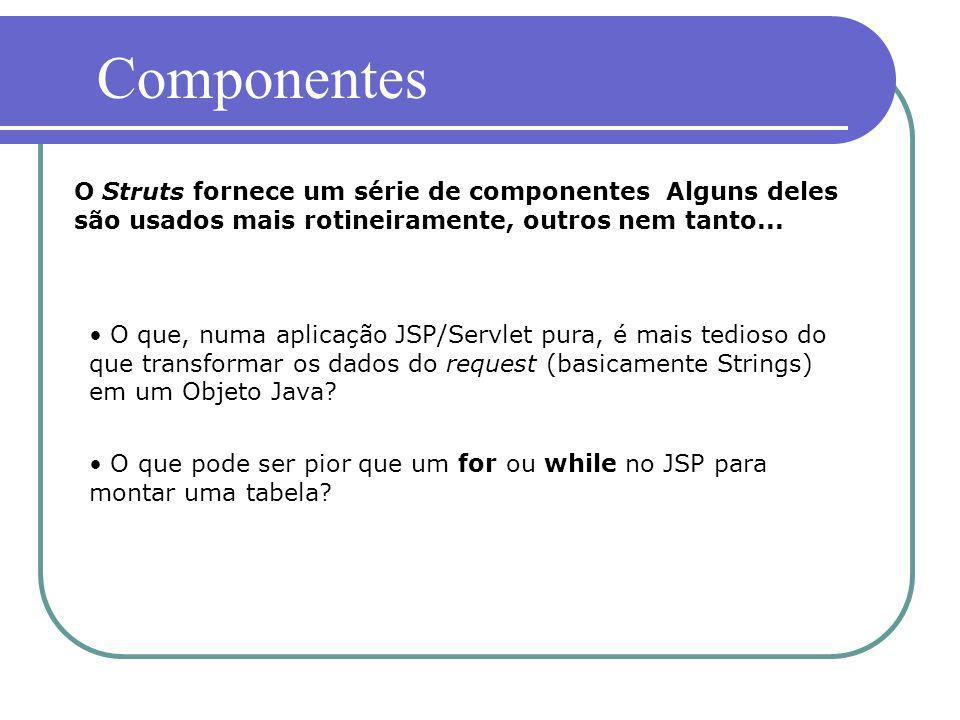 Componentes O Struts fornece um série de componentes Alguns deles são usados mais rotineiramente, outros nem tanto...