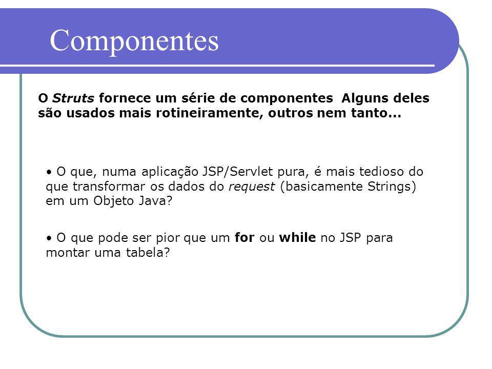 ComponentesO Struts fornece um série de componentes Alguns deles são usados mais rotineiramente, outros nem tanto...