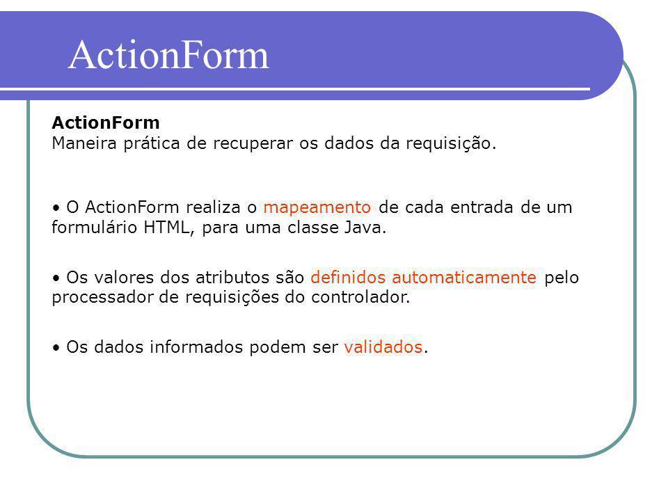 ActionForm ActionForm Maneira prática de recuperar os dados da requisição.