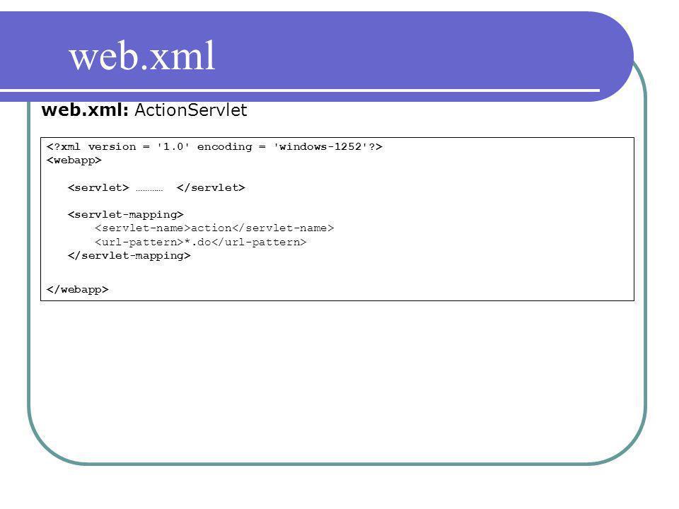 web.xml web.xml: ActionServlet
