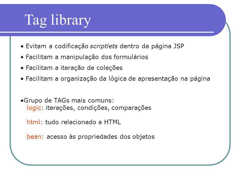Tag library Evitam a codificação scriptlets dentro da página JSP