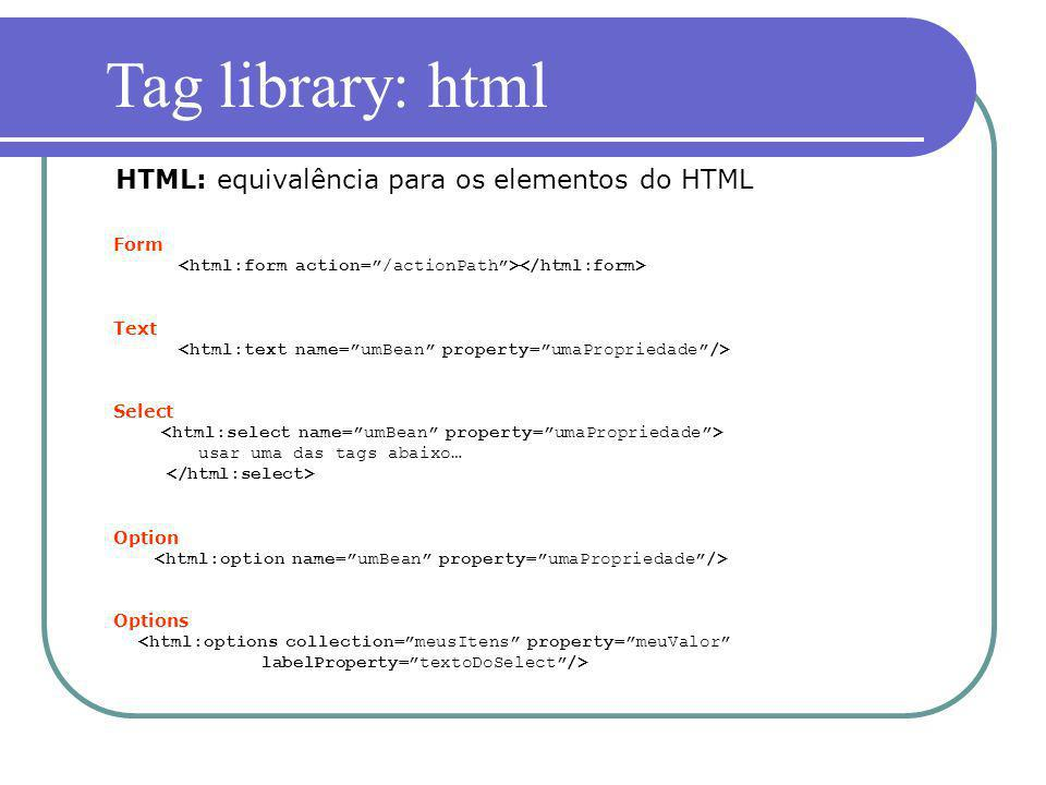 Tag library: html HTML: equivalência para os elementos do HTML