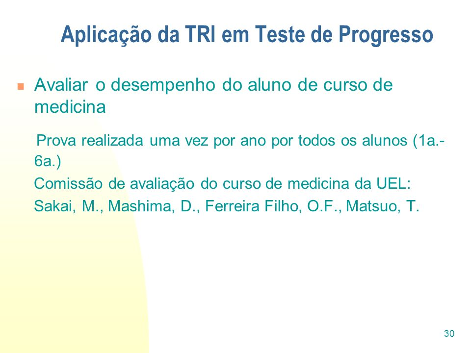 Aplicação da TRI em Teste de Progresso