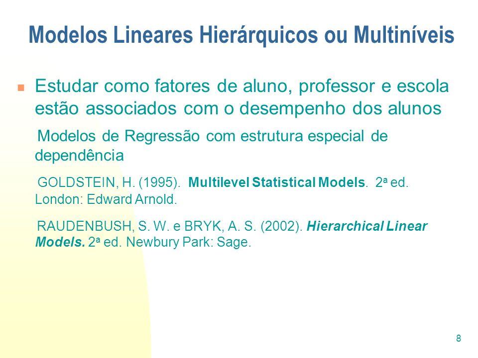 Modelos Lineares Hierárquicos ou Multiníveis