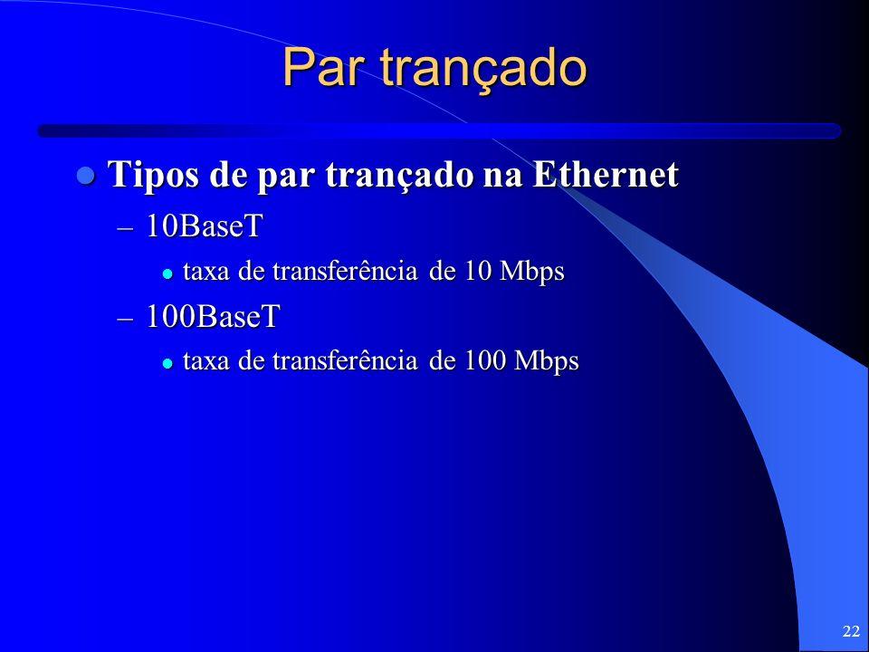 Par trançado Tipos de par trançado na Ethernet 10BaseT 100BaseT
