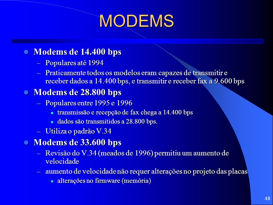 MODEMS Modems de 14.400 bps Modems de 28.800 bps Modems de 33.600 bps