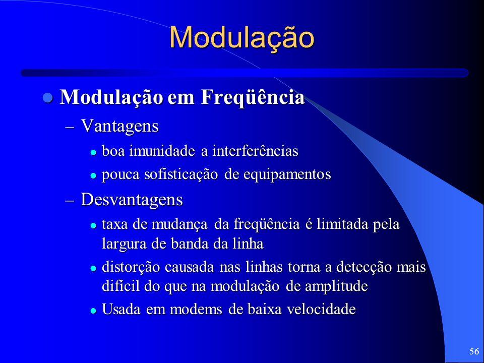 Modulação Modulação em Freqüência Vantagens Desvantagens