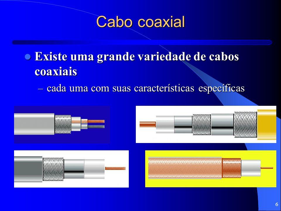 Cabo coaxial Existe uma grande variedade de cabos coaxiais