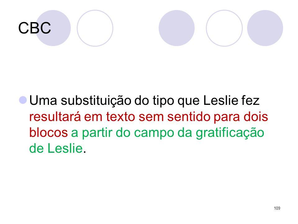 CBCUma substituição do tipo que Leslie fez resultará em texto sem sentido para dois blocos a partir do campo da gratificação de Leslie.