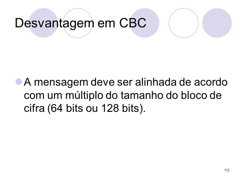 Desvantagem em CBCA mensagem deve ser alinhada de acordo com um múltiplo do tamanho do bloco de cifra (64 bits ou 128 bits).