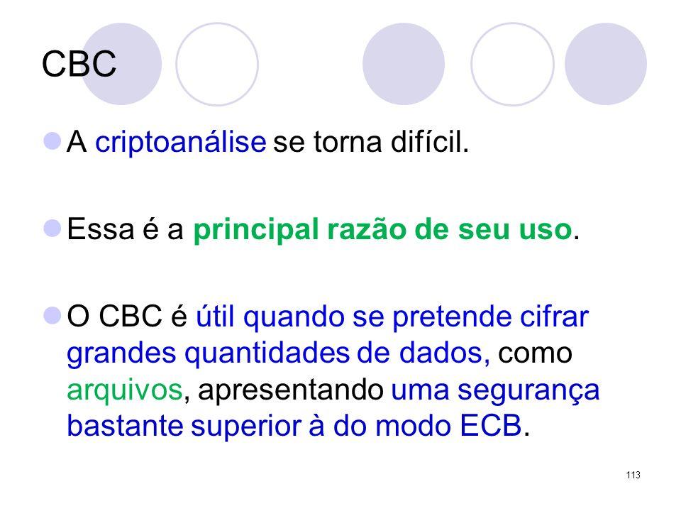 CBC A criptoanálise se torna difícil.