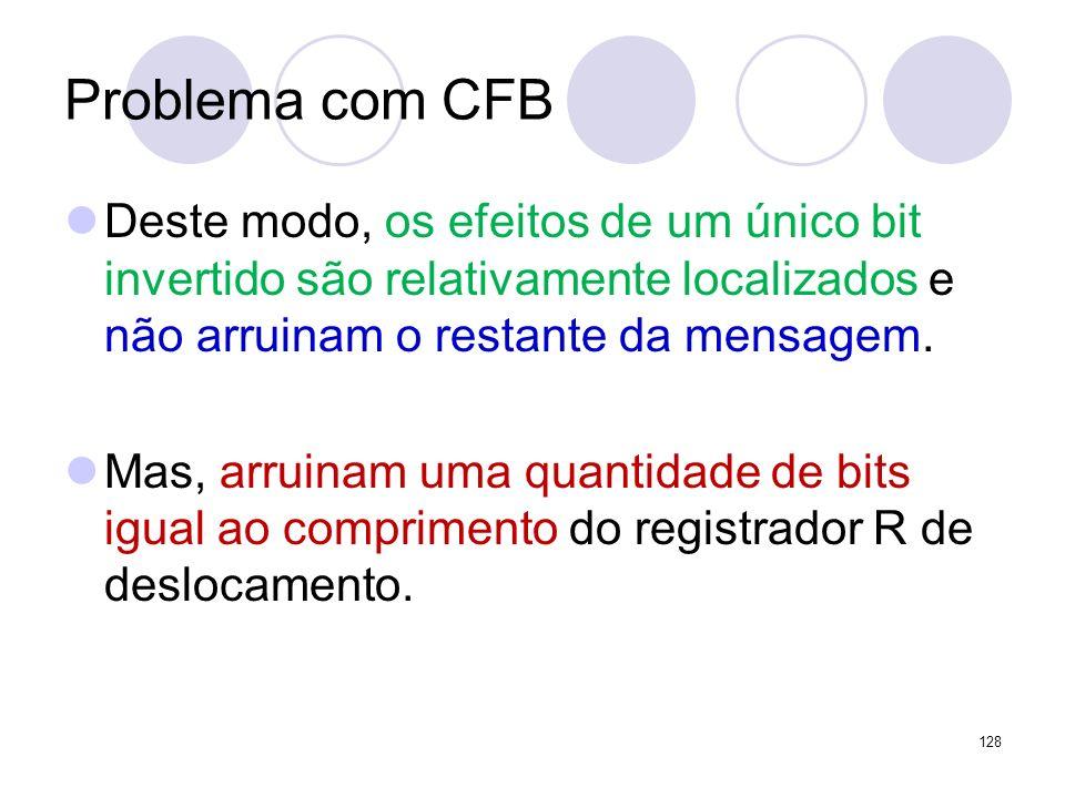 Problema com CFB Deste modo, os efeitos de um único bit invertido são relativamente localizados e não arruinam o restante da mensagem.