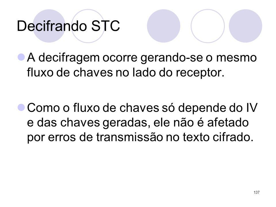 Decifrando STC A decifragem ocorre gerando-se o mesmo fluxo de chaves no lado do receptor.