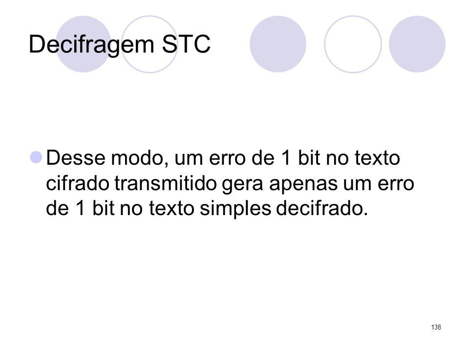 Decifragem STC Desse modo, um erro de 1 bit no texto cifrado transmitido gera apenas um erro de 1 bit no texto simples decifrado.