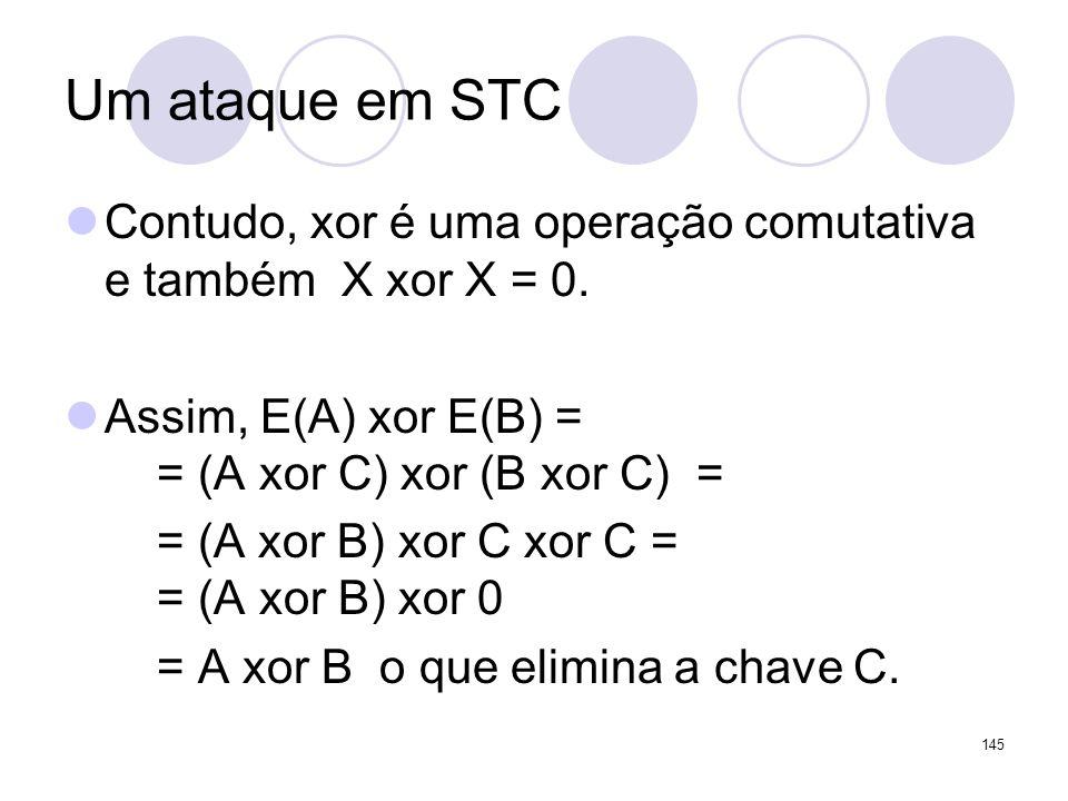 Um ataque em STCContudo, xor é uma operação comutativa e também X xor X = 0. Assim, E(A) xor E(B) = = (A xor C) xor (B xor C) =