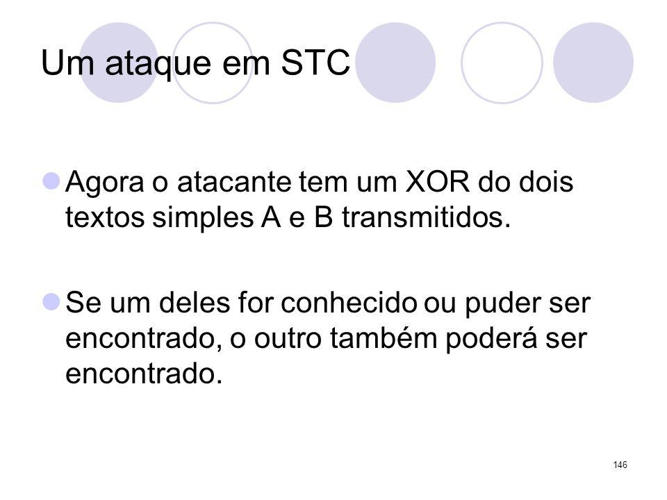 Um ataque em STC Agora o atacante tem um XOR do dois textos simples A e B transmitidos.