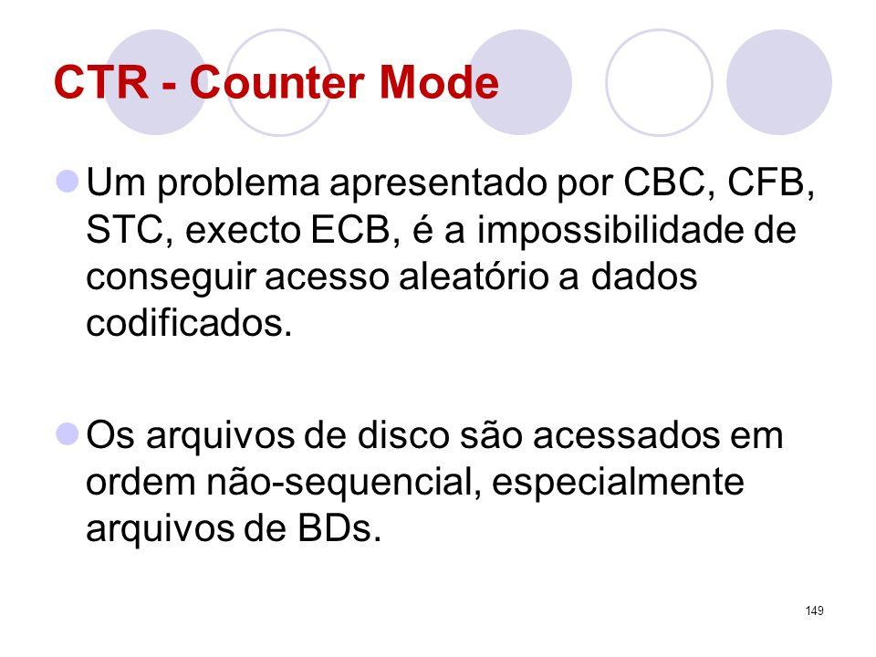 CTR - Counter ModeUm problema apresentado por CBC, CFB, STC, execto ECB, é a impossibilidade de conseguir acesso aleatório a dados codificados.