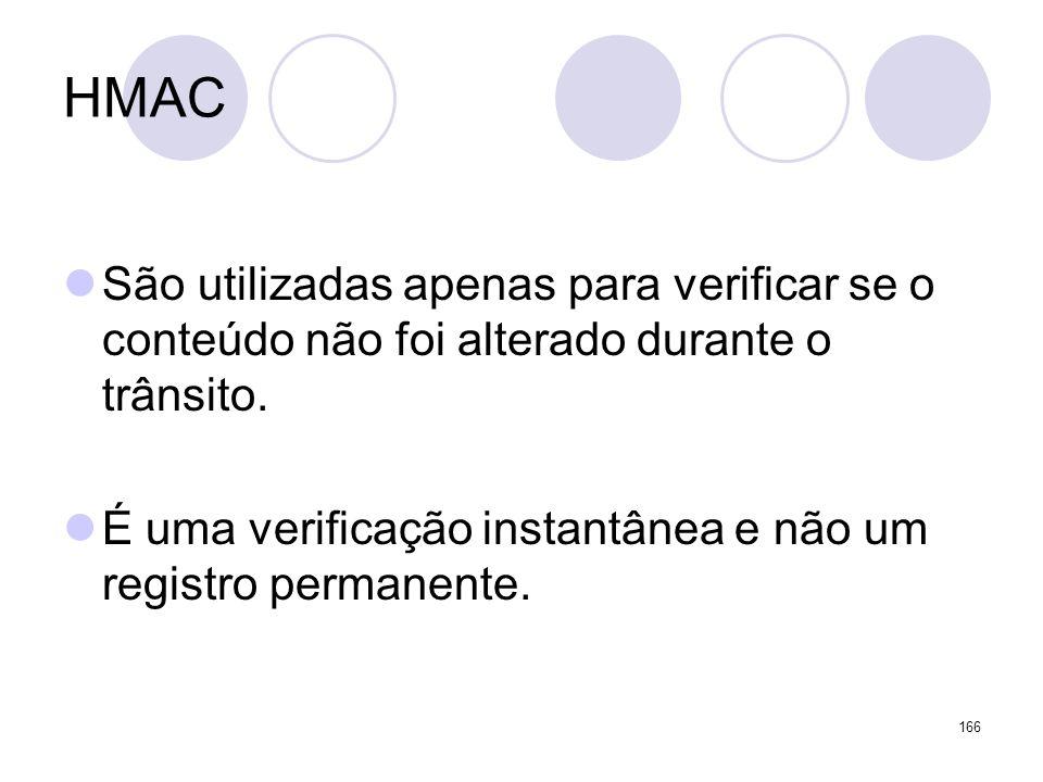 HMAC São utilizadas apenas para verificar se o conteúdo não foi alterado durante o trânsito.