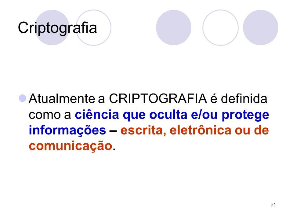 Criptografia Atualmente a CRIPTOGRAFIA é definida como a ciência que oculta e/ou protege informações – escrita, eletrônica ou de comunicação.