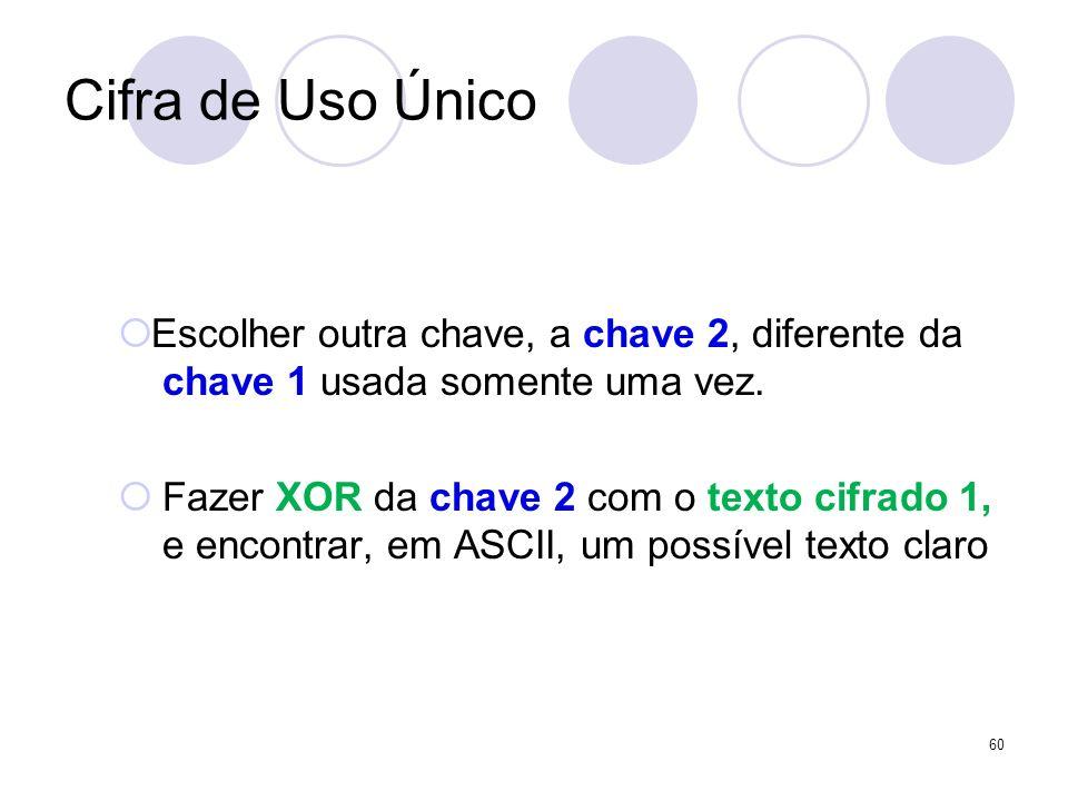 Cifra de Uso ÚnicoEscolher outra chave, a chave 2, diferente da chave 1 usada somente uma vez.