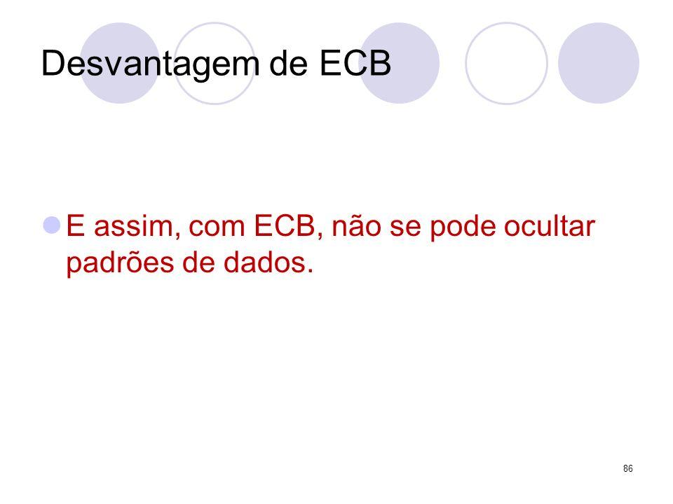 Desvantagem de ECB E assim, com ECB, não se pode ocultar padrões de dados.