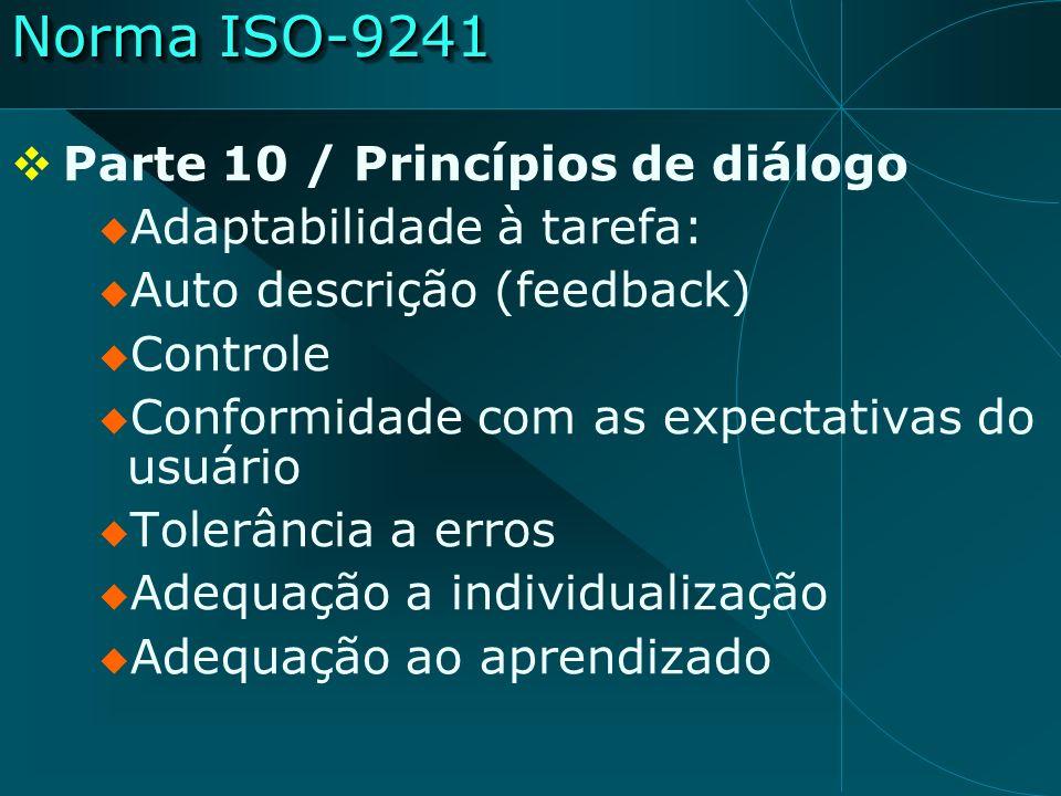Norma ISO-9241 Parte 10 / Princípios de diálogo