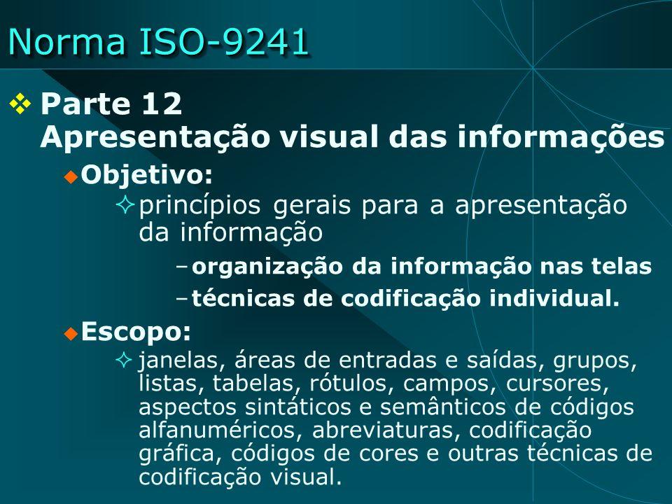 Norma ISO-9241 Parte 12 Apresentação visual das informações Objetivo: