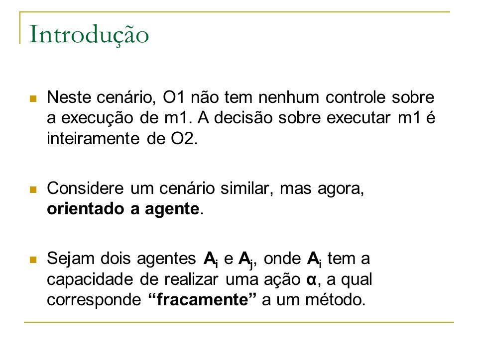 Introdução Neste cenário, O1 não tem nenhum controle sobre a execução de m1. A decisão sobre executar m1 é inteiramente de O2.