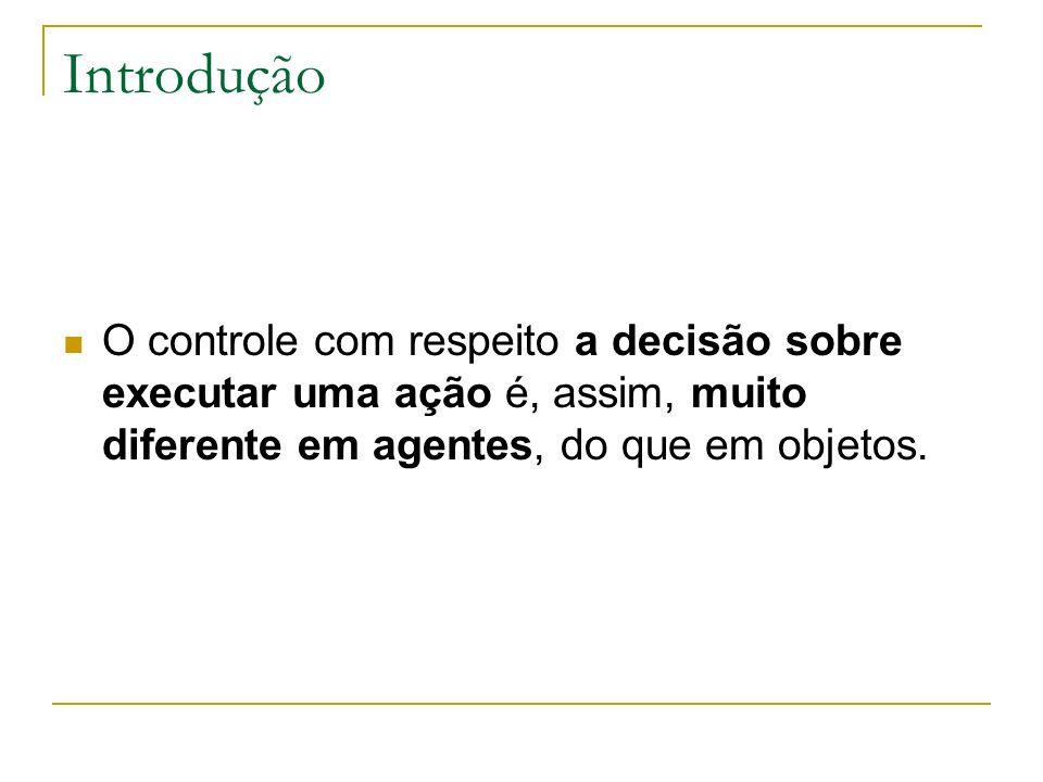 Introdução O controle com respeito a decisão sobre executar uma ação é, assim, muito diferente em agentes, do que em objetos.