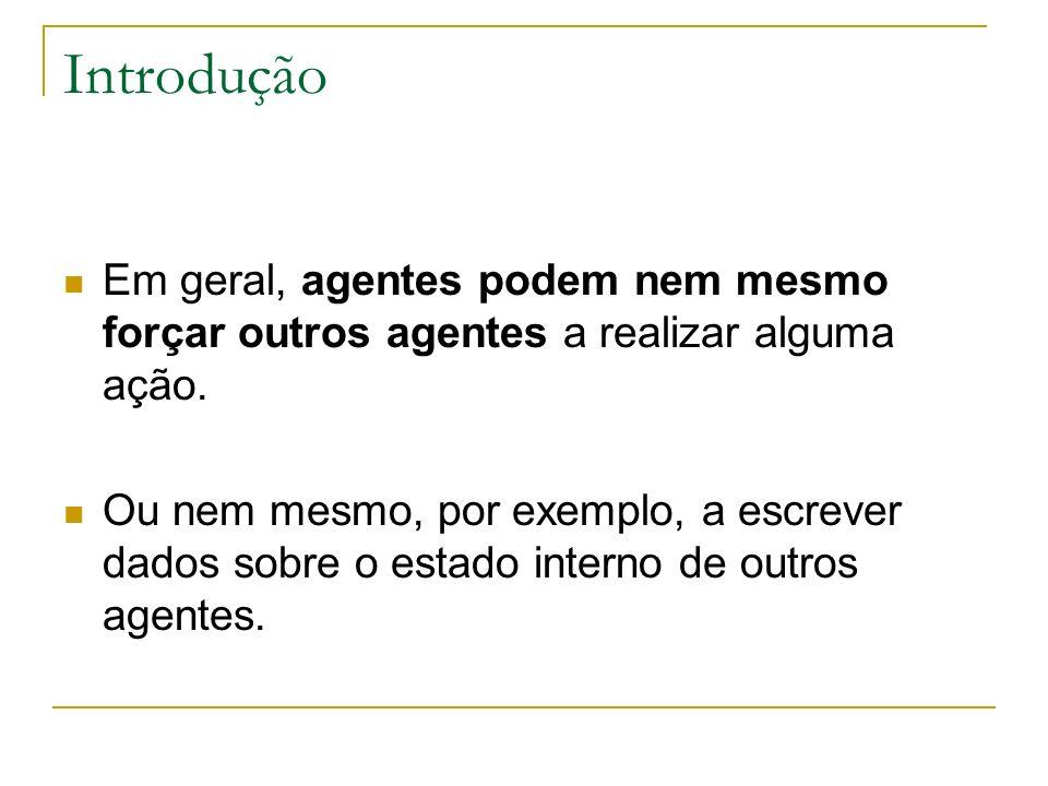 Introdução Em geral, agentes podem nem mesmo forçar outros agentes a realizar alguma ação.