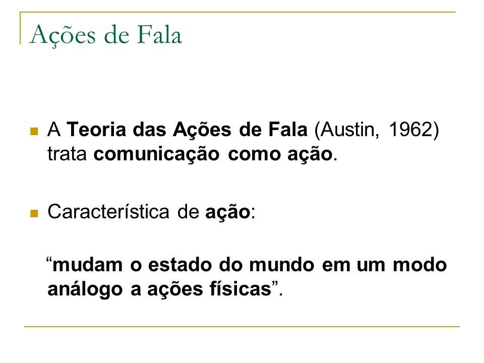 Ações de Fala A Teoria das Ações de Fala (Austin, 1962) trata comunicação como ação. Característica de ação: